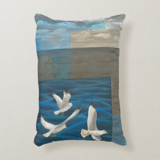 Three White Seagulls Flying Over the Water Decorative Pillow