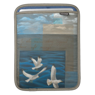 Three White Seagulls Flying Over the Water iPad Sleeve