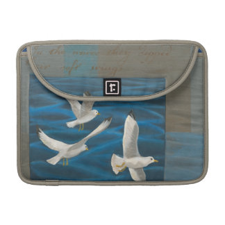 Three White Seagulls Flying Over the Water MacBook Pro Sleeve