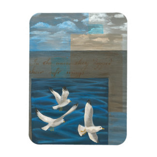 Three White Seagulls Flying Over the Water Magnet