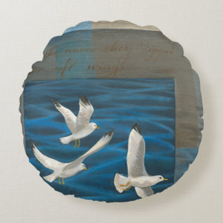 Three White Seagulls Flying Over the Water Round Pillow