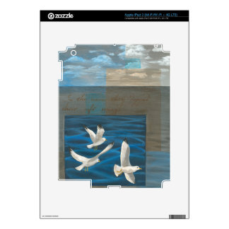 Three White Seagulls Flying Over the Water Skins For iPad 3
