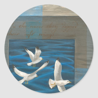 Three White Seagulls Flying Over the Water Round Stickers