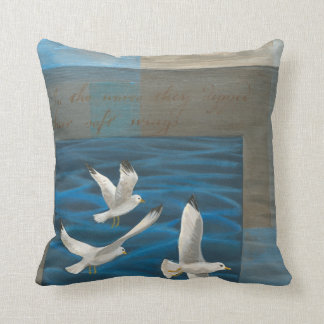 Three White Seagulls Flying Over the Water Throw Pillow