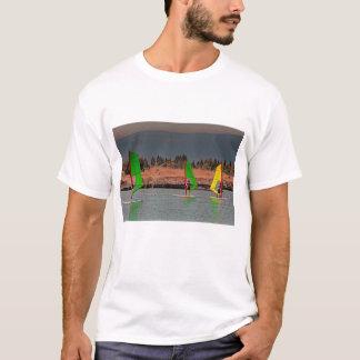 Three wind surfers on a t-shirt