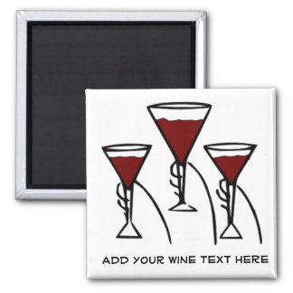 Three Wine Glasses in Hands Cartoon 2 Inch Square Magnet