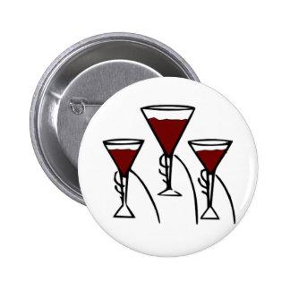 Three Wine Glasses in Hands Cartoon Button