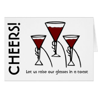 Three Wine Glasses in Hands Cartoon Greeting Card