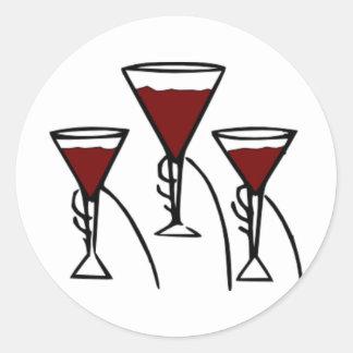 Three Wine Glasses in Hands Cartoon Classic Round Sticker