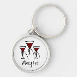 Three Wine Glasses in Hands Cartoon Key Chains