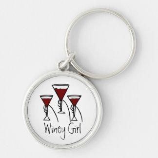 Three Wine Glasses in Hands Cartoon Keychain