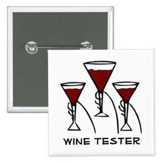Three Wine Glasses in Hands Cartoon Pinback Button
