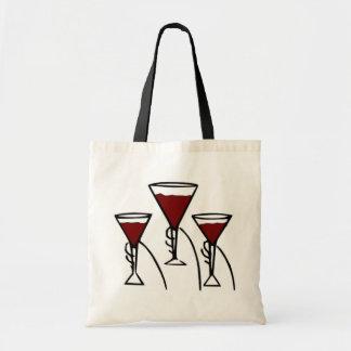 Three Wine Glasses in Hands Cartoon Tote Bag