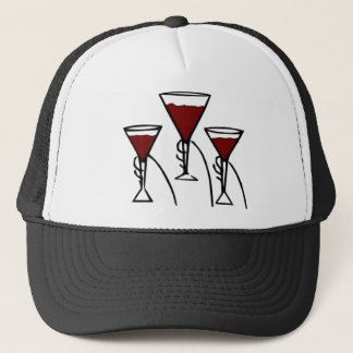 Three Wine Glasses in Hands Cartoon Trucker Hat