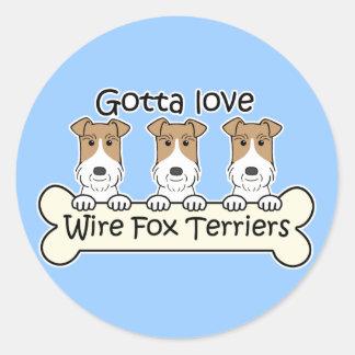 Three Wire Fox Terriers Round Sticker