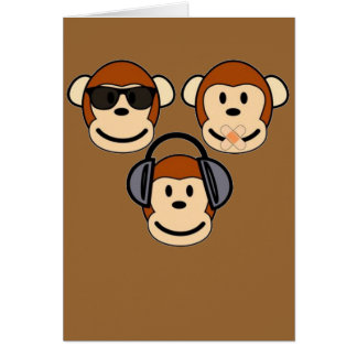 Three Wise and Funky Monkeys Card