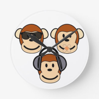 Three Wise and Funky Monkeys Round Wallclocks