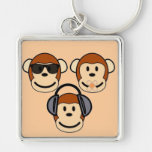 Three Wise and Funky Monkeys Silver-Colored Square Keychain