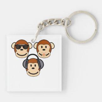 Three Wise and Funky Monkeys Keychain