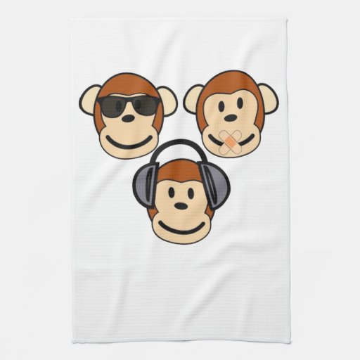 Three Wise and Funky Monkeys Hand Towels