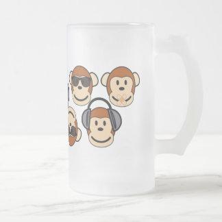 Three Wise and Funky Monkeys Glass Beer Mug