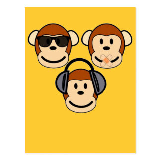 Three Wise and Funky Monkeys Postcard