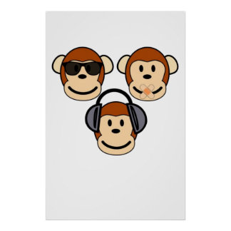 Three Wise and Funky Monkeys Poster