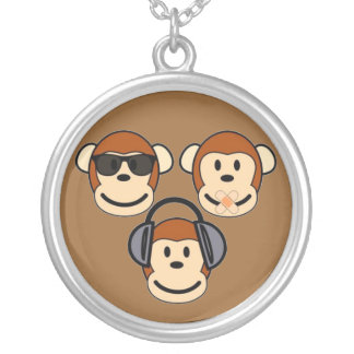 Three Wise and Funky Monkeys Silver Plated Necklace
