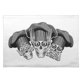 Three Wise Chef Skulls Cloth Placemat
