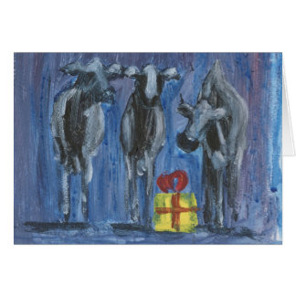 three wise cows greeting card