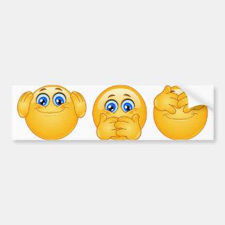 three wise emojis bumper sticker