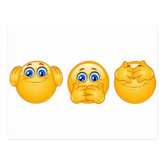 three wise emojis postcard