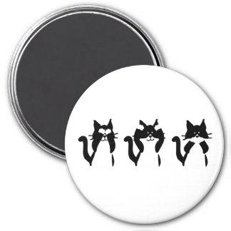 Three Wise Kitties 3 Inch Round Magnet