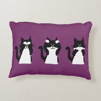 Three Wise Kitties Accent Pillow