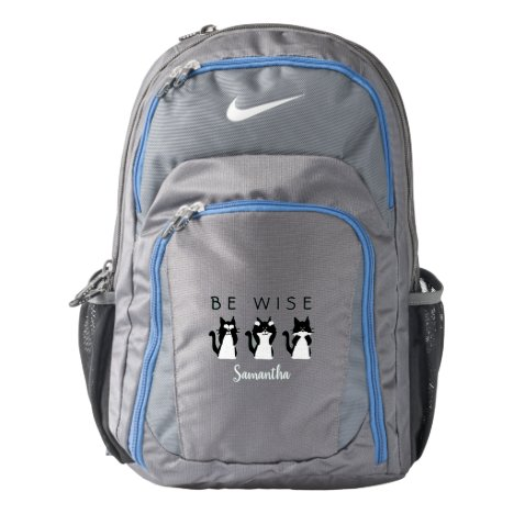 Three Wise Kitties Black and White Custom Backpack