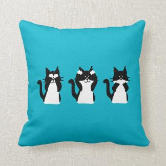 Three Wise Kitties Reversible Throw Pillow