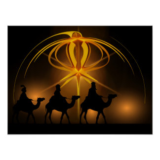 Three Wise Men and Advent Star Merry Christmas Poster