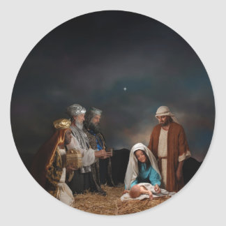 Three Wise Men at the Nativity Classic Round Sticker