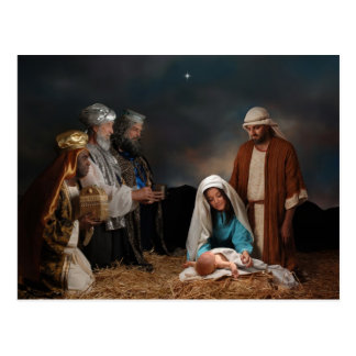 Three Wise Men at the Nativity Postcard