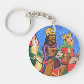 Three Wise Men by Joel Anderson Circle Keychain