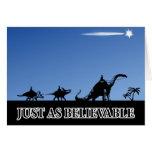 Three wise men on dinosaurs card