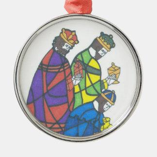 Three Wise Men Round Metal Christmas Ornament