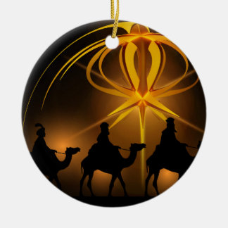 Three Wise Men Under an Abstract Star Ceramic Ornament