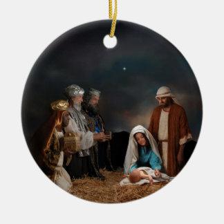 Three Wise Men Visiting Newborn Baby Jesus Double-Sided Ceramic Round Christmas Ornament