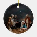 Three Wise Men Visiting Newborn Baby Jesus Christmas Tree Ornaments