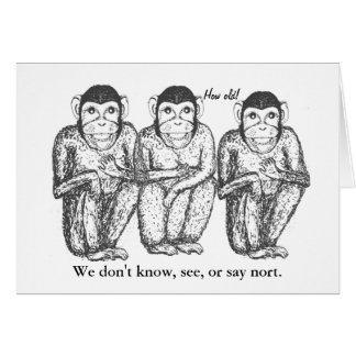 Three Wise, Modern, Monkeys Birthday cards