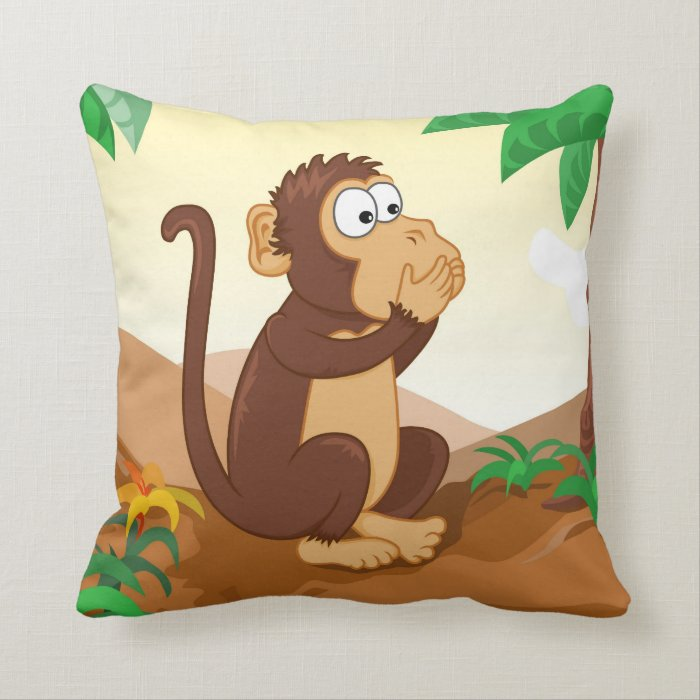 Three wise monkeys 2/3 speaking throw pillow