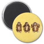 Three wise monkeys 2 inch round magnet