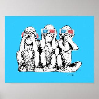 Three Wise Monkeys 3D Specs Pop Art Poster Print