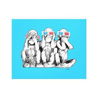 Three Wise Monkeys 3D Specs Pop Art Print Canvas Print